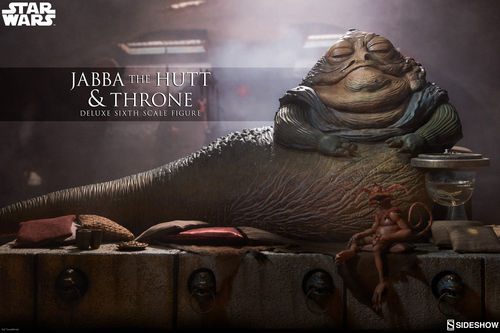 SIDESHOW STAR WARS JABBA THE HUTT  & THRONE DELUXE / SIXTH SCALE