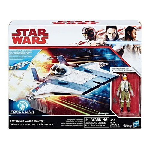 "THE LAST JEDI - RESISTANCE A-WING FIGHTER + RESISTANCE PILOT TALLIE 3,75"" / FORCE LINK"