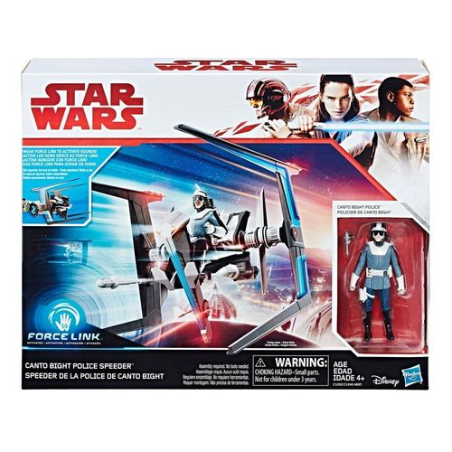 "THE LAST JEDI - CANTO BIGHT POLICE SPEEDER + CANTO BIGHT POLICE OFFICER 3,75"" / FORCE LINK"